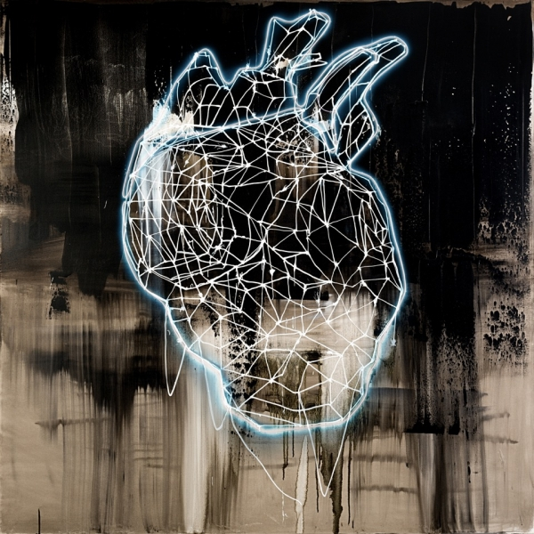ZOIȚA Delia Călinescu, LIGHT HEART, 2016, Mixed media (acrylic on canvas and electroluminescent wire), 180x180cm